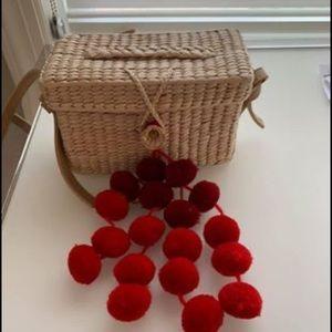 Handbags - Woman Pom Pom  Straw bag